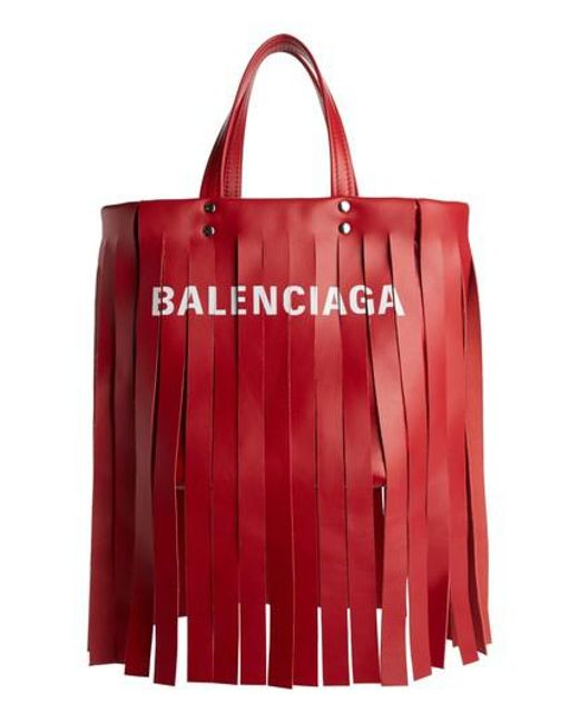 Balenciaga - Red Extra Small Laundry Logo Fringe Calfskin Tote - Lyst