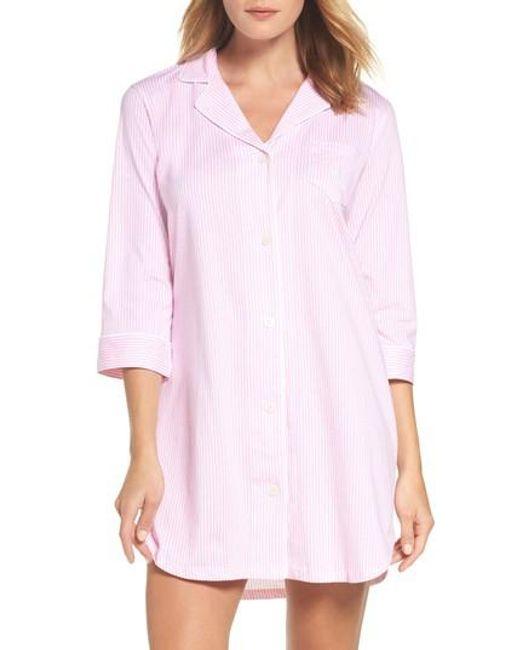 Lauren by Ralph Lauren | Pink Jersey Sleep Shirt | Lyst