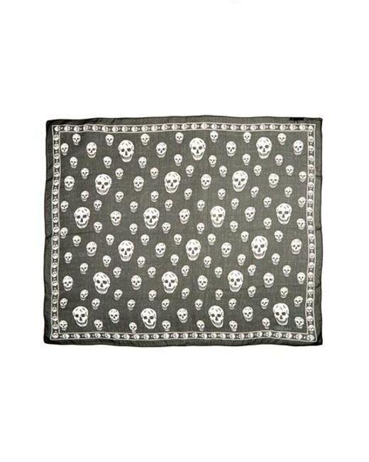 Alexander McQueen | Black 'skull' Chiffon Scarf | Lyst
