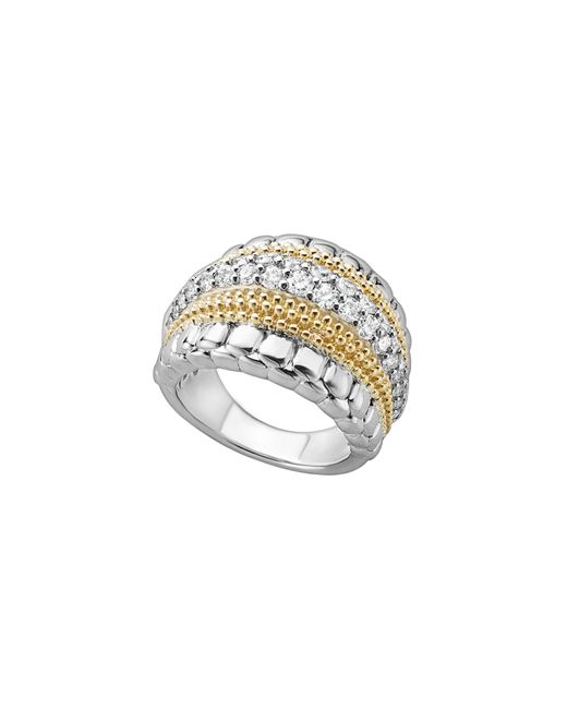 Lagos - Metallic 18k Gold And Sterling Silver Diamond Lux Ring - Lyst
