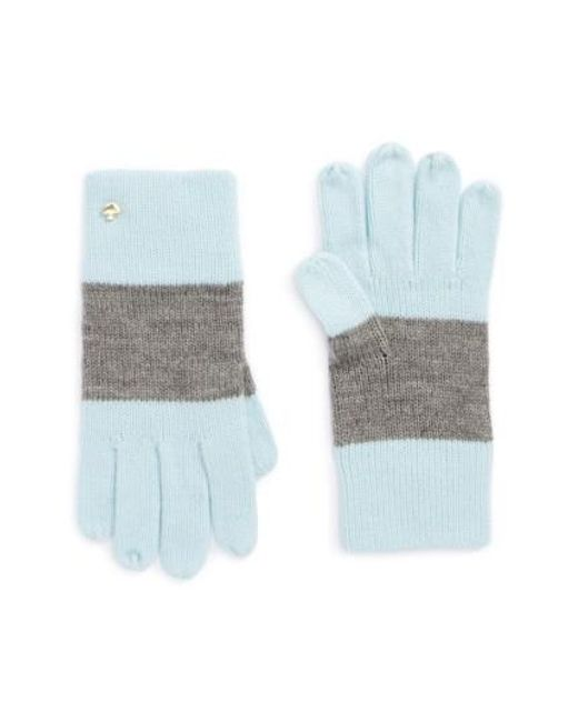 Kate Spade | Gray Colorblock Knit Gloves | Lyst
