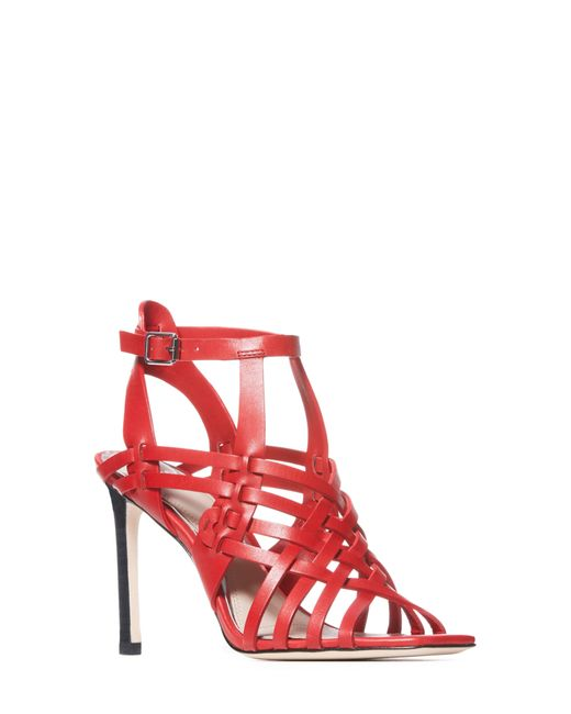 PAIGE Red Verso Strappy Cage Sandal
