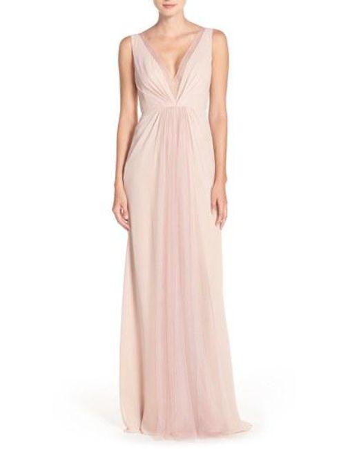 Monique Lhuillier Bridesmaids - Pink Deep V-neck Chiffon & Tulle Gown - Lyst