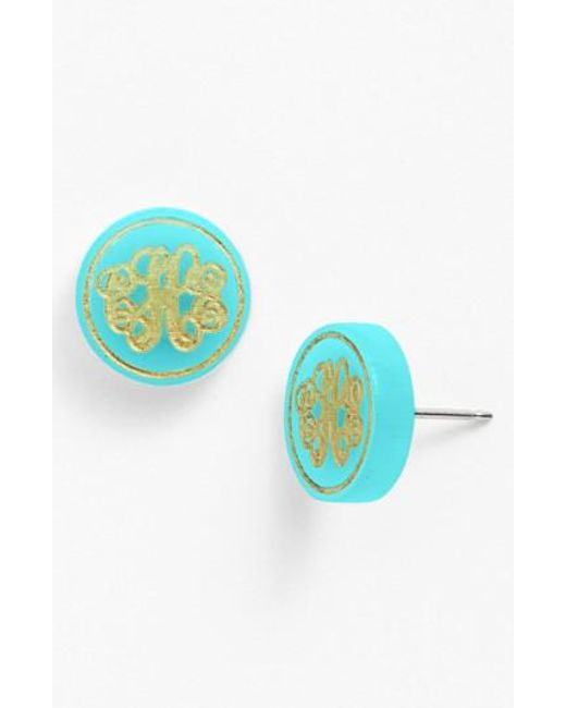 Moon & Lola | Green 'chelsea' Small Personalized Monogram Stud Earrings (nordstrom Exclusive) | Lyst