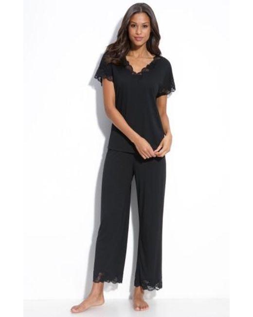 Natori | Black 'zen Floral' Pajama Set | Lyst