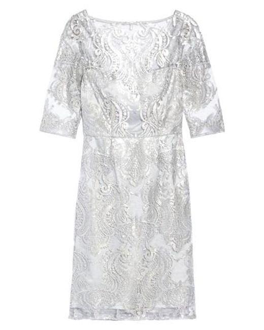 Tahari - Metallic Sequin Illusion Sheath Dress - Lyst