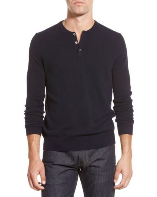 Bonobos | Blue Cashmere Henley Sweater for Men | Lyst
