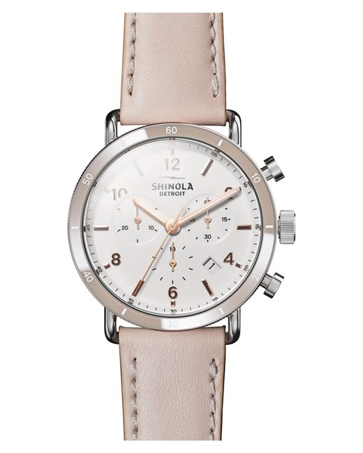 Shinola - Metallic The Canfield Chrono Leather Strap Watch - Lyst