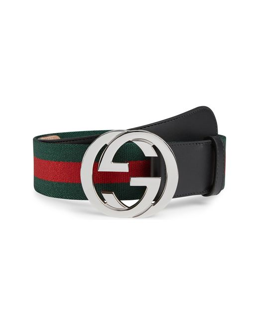 Gucci Black Web Belt And Gg Buckle for men