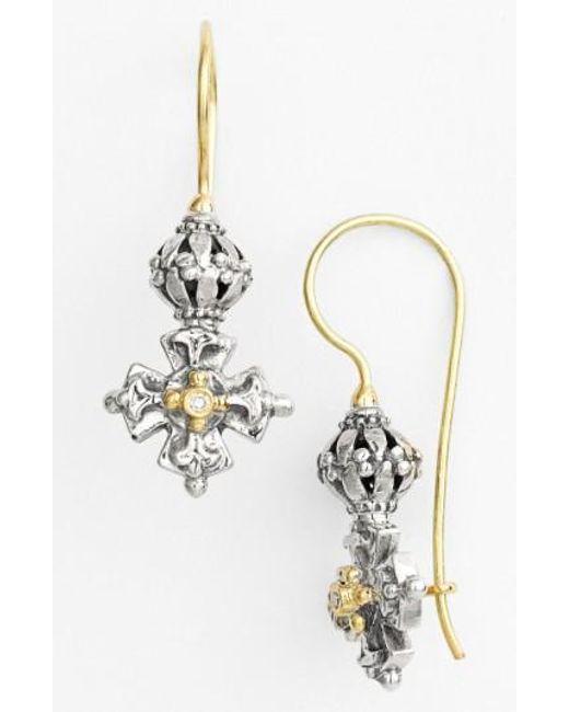 Konstantino   Metallic 'classics' Diamond Maltese Cross Drop Earrings   Lyst