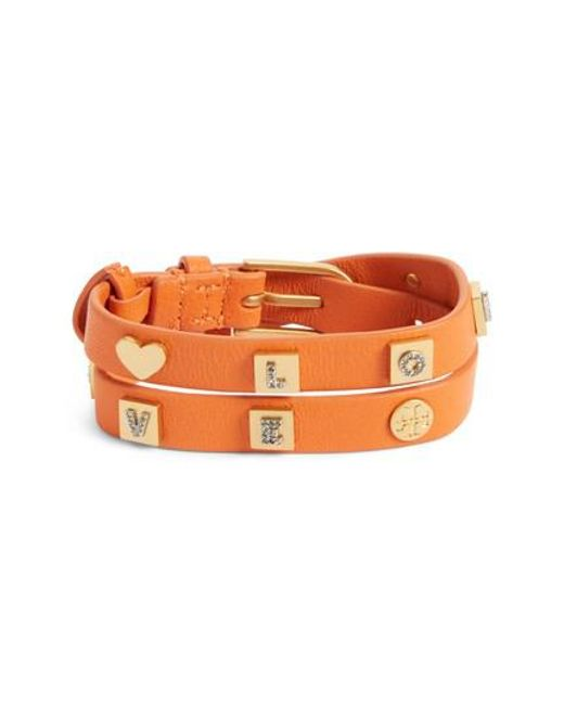 Tory Burch | Orange Message Double Wrap Bracelet | Lyst