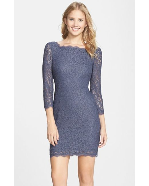 Adrianna Papell | Blue Long Sleeve Lace Sheath Dress | Lyst