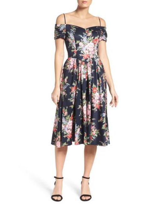 Chetta B | Blue Off The Shoulder Midi Dress | Lyst