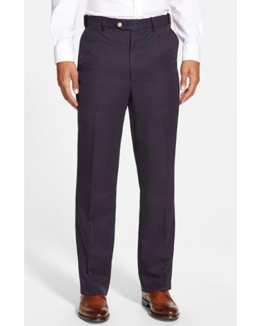 Berle | Blue Self Sizer Waist Flat Front Trousers for Men | Lyst
