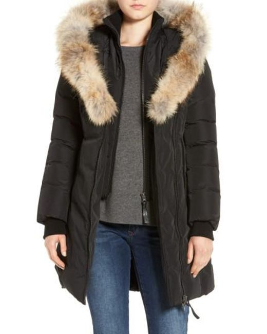 Mackage | Black Down Puffer With Coyote Fur Trim | Lyst