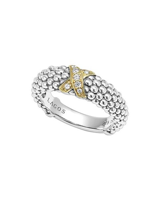 Lagos | Metallic 'x' Diamond & Caviar-(tm)' Two Tone Ring | Lyst