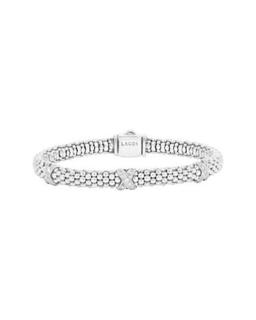 Lagos | Metallic 'signature Caviar' Diamond Rope Bracelet | Lyst