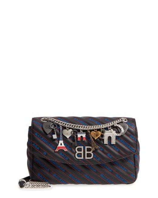 Balenciaga - Black Medium Bb Round Logo Charm Crossbody Bag - Lyst
