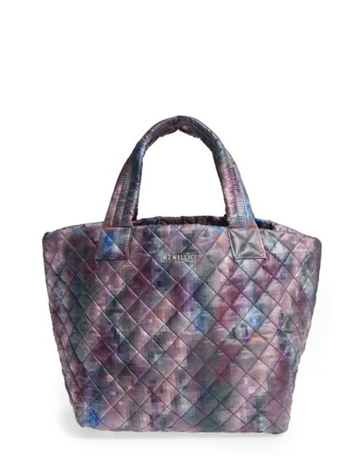 MZ Wallace | Black 'small Metro' Quilted Oxford Nylon Tote - Purple | Lyst