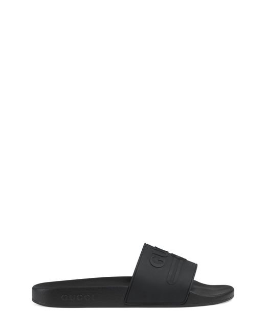 75b120bfe9f Lyst - Gucci Rubber Slide Sandals in Black for Men - Save 22%