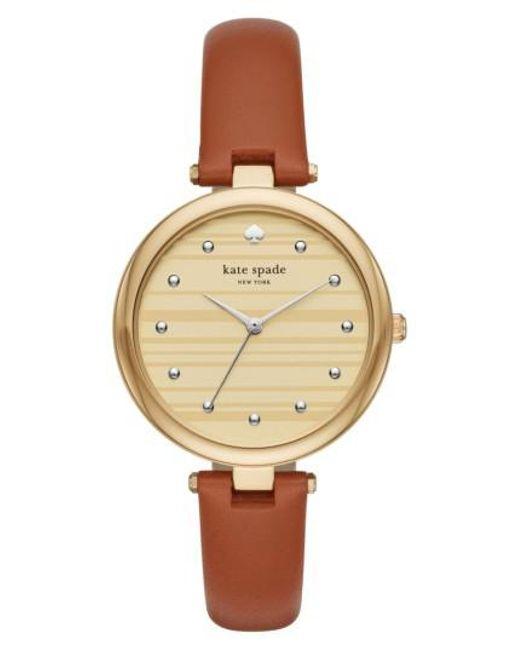 Kate Spade   Metallic Varick Leather Strap Watch   Lyst