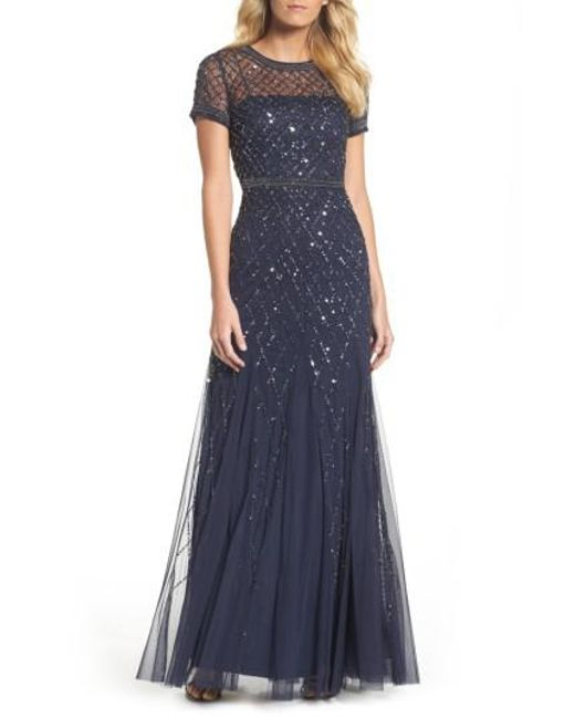 Adrianna Papell - Natural Beaded Mesh Gown - Lyst