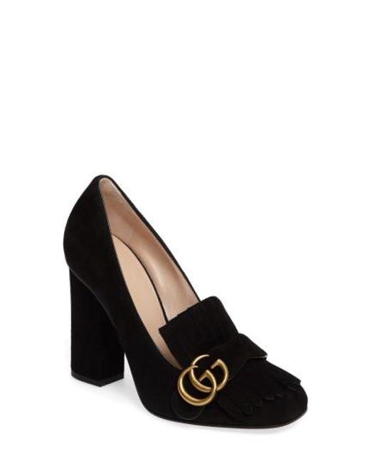Gucci - Black Marmont Kiltie Loafer Pump - Lyst