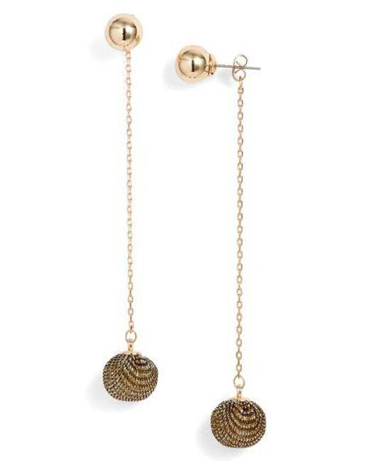 Rebecca Minkoff | Metallic High Shine Pompom Drop Earrings | Lyst