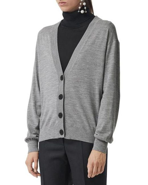 3120ee5e0034 Burberry Dornoch Check Detail Merino Wool Cardigan in Gray - Lyst