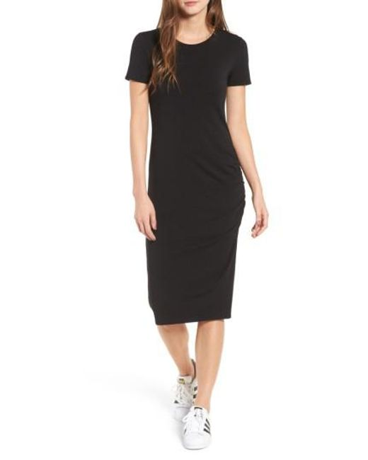 Treasure & Bond | Black Side Ruched Body-con Dress | Lyst