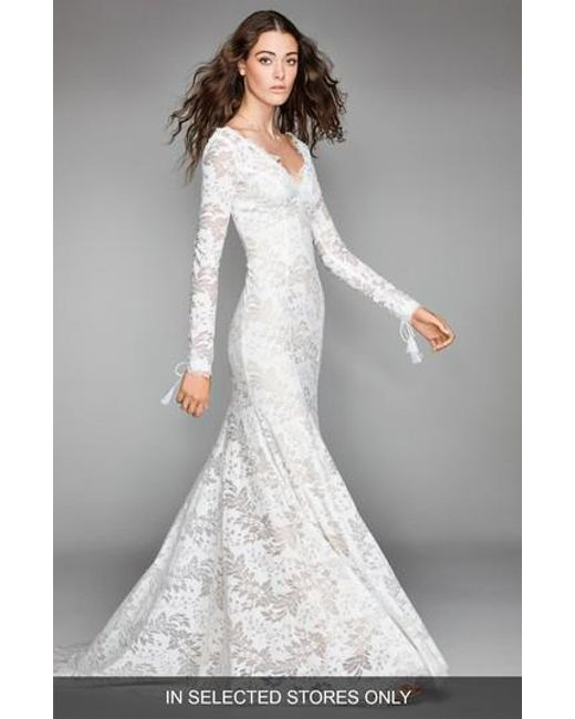 Lyst - Willowby Luna Lace Mermaid Gown in White