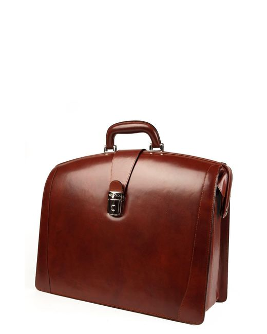 Bosca Brown Triple Compartment Leather Briefcase for men