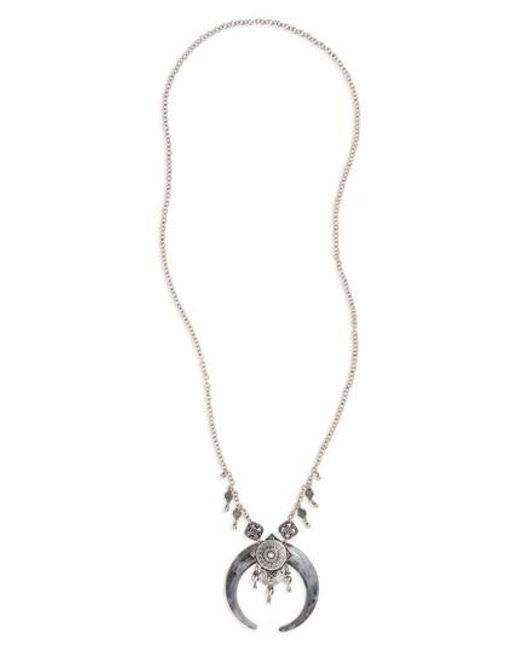 TOPSHOP - Metallic Mega Horn Pendant Necklace - Lyst
