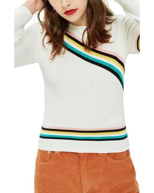 TOPSHOP - Multicolor Chevron Fine Gauge Sweater - Lyst