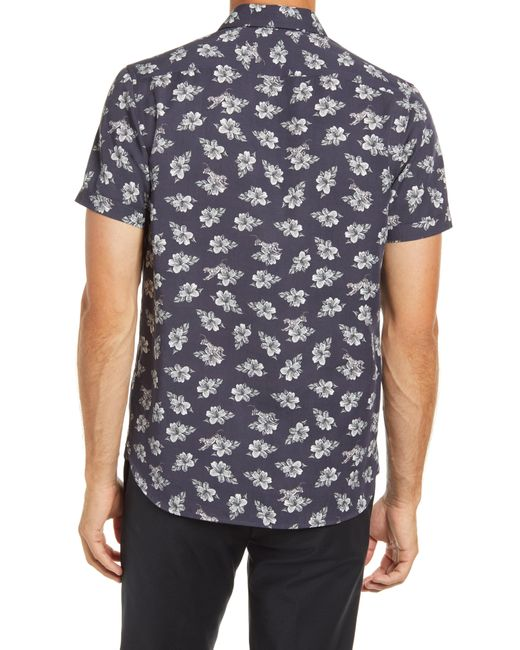 Ted Baker Blue Marmo Floral Short Sleeve Button-up Shirt for men