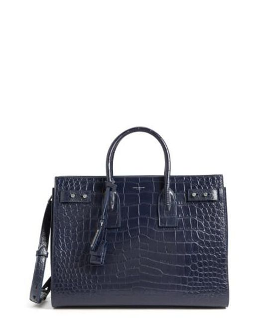 Saint Laurent | Blue Small Sac De Jour Croc Embossed Leather Tote | Lyst