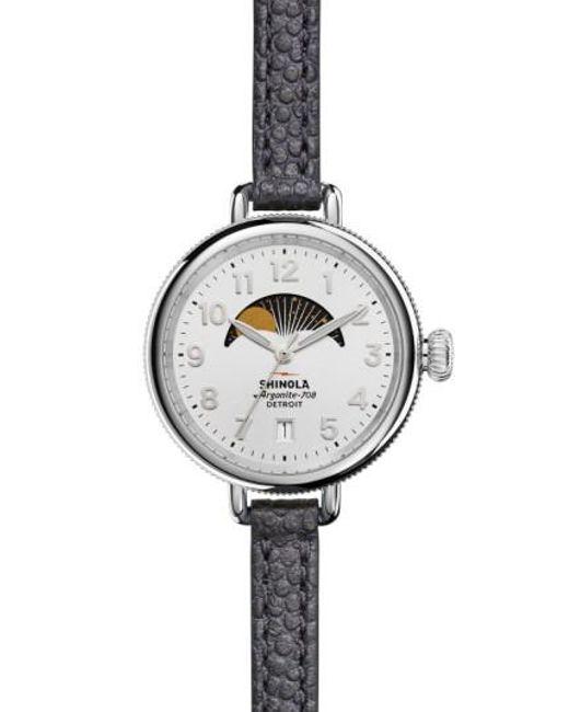 Shinola | Metallic 'the Birdy' Moon Phase Leather Strap Watch | Lyst