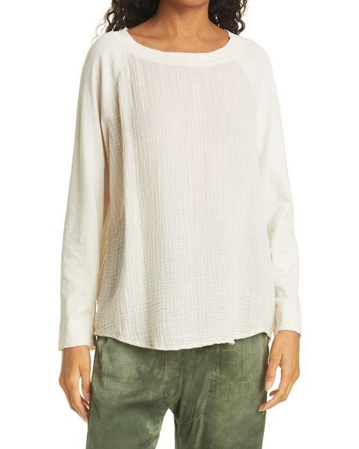 Raquel Allegra White Raglan Cotton Top