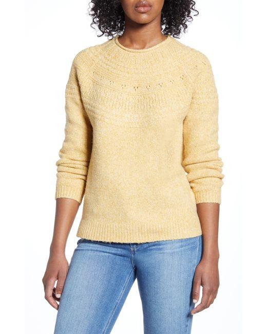 Caslon Yellow Caslon Stitch Detail Pullover