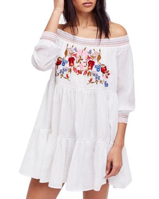 Free People - White Sunbeams Minidress - Lyst