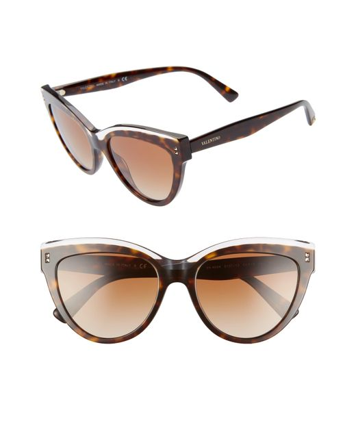 8fd8dcae7d88c Valentino - Brown Rockstud 54mm Cat Eye Sunglasses - Crystal/ Havana - Lyst  ...