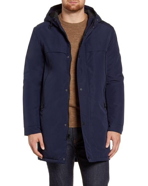 Andrew Marc Blue Cagney Water Resistant Hooded Coat for men