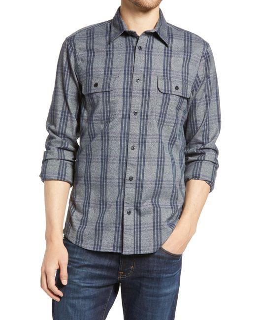 1901 Gray Trim Fit Plaid Stretch Flannel Button-up Shirt for men