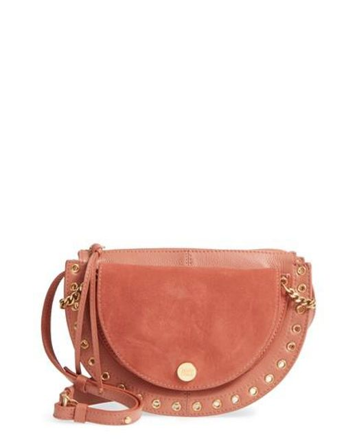 Kriss Small Crossbody Bag in Berry Pink Grained Cowhide Leather and Suede Leather See By Chloé 26ndgOiK
