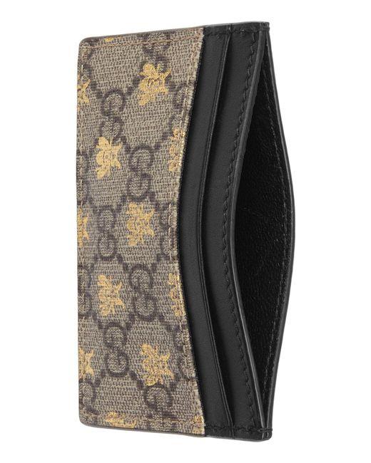 faa1cdeb093e ... Gucci - Black Linea Bee Gg Card Case - Lyst