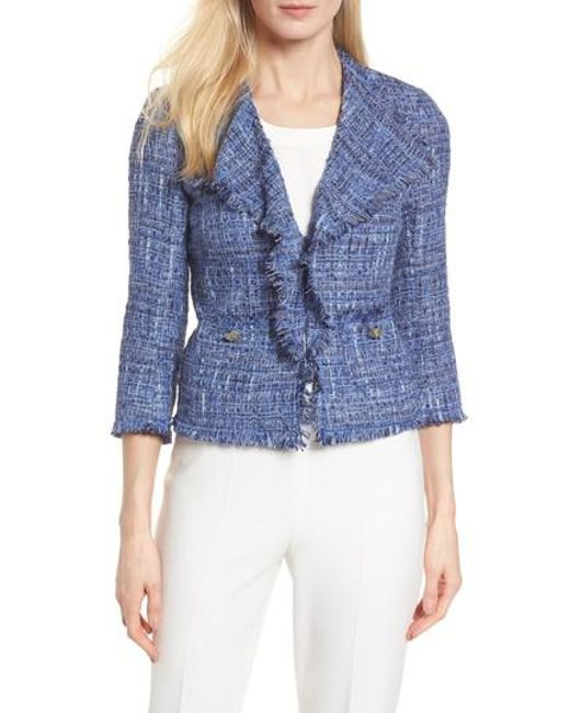 Anne Klein | Blue Fringe Tweed Jacket | Lyst