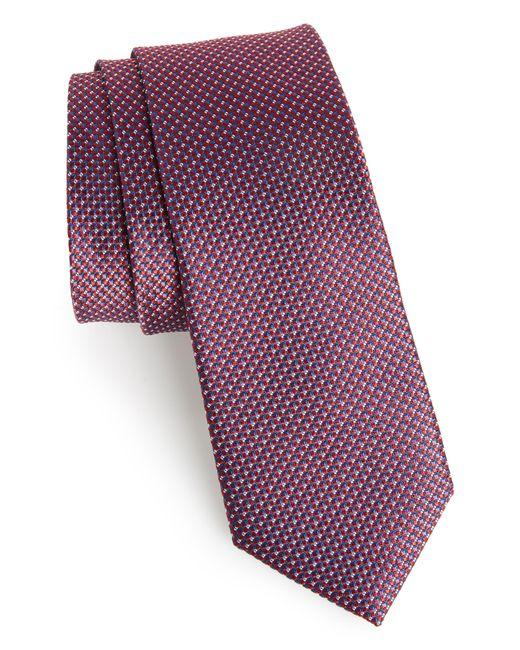 Calibrate Red Anser Solid Silk Tie for men