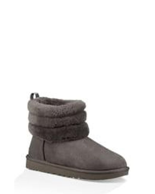 Ugg Gray Fluff Mini Quilted Boots