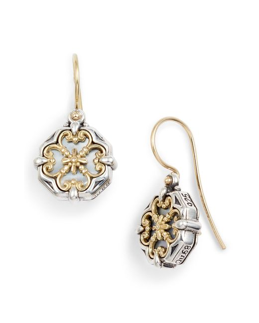 Konstantino - Metallic Etched Sterling Silver And Gold Drop Earrings - Lyst