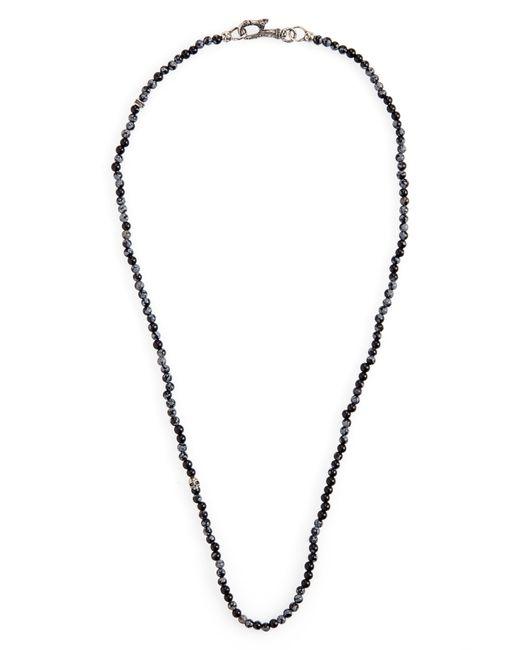 John Varvatos Gray Skull Bead Necklace for men
